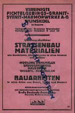 WUNSIEDEL, Werbung 1925, Vereinigte Fichtelgebrigs-Granit-Syenit-Marmorwerke AG