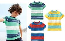 Mini Boden t-shirt Boys vintage stripe slub cotton tee short sleeve summer blue