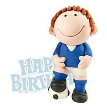 Footballer Cake Topper Figure Blue Happy Birthday Non Edible Decoration