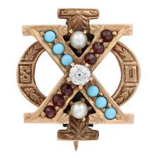 Chi Phi Badge - 14k Gold Turquoise Brown University Secret Order Fraternity Pin
