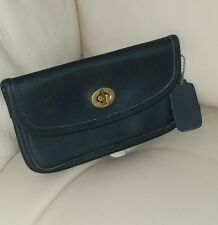 Coach Vintage Black Case Cosmetic Bag Wallet Coin Purse Clutch Gold Tag Stripe