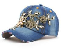 Women Baseball Cap Painting Flower Hats Jeans Woman Female Cap Summer Sun Hat