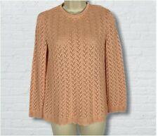 PERFECT Frances Brewster VTG 60s Pointelle Knit Sweater Peach Pink XS/S