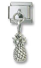 Italian Charm Dangle Pineapple Sterling Silver 9mm Stainless Steel Bracelet New