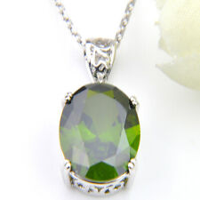 Europe Popular Oval Cut Green Peridot Gemstone Silver Wedding Necklace Pendants