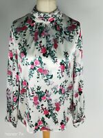 TU White Floral Modest High Neck Smart  Career Office Blouse Top Size 10 S