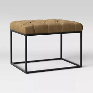 Trubeck Tufted Metal Base Ottoman Faux Leather - Project 62