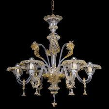 Lampadario In vetro di Murano Lavorato a Mano Cristallo oro 6 luci