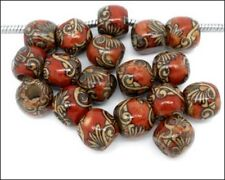 Wood Drum Painted Pattern Large Hole Beads