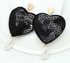 Black Sequin Heart Pearl Earrings Drop Fabulous Long  Party Valentine ASOS