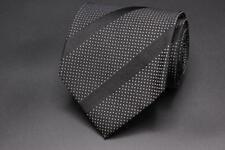 RALPH LAUREN PURPLE LABEL Tie. Black w Polka Dots & Stripes. Hand Made England.