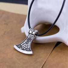 Viking Odin Symbol Rune Peru Men Women Necklace Axe Pendant Metal Chain Nordic