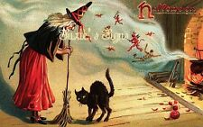 Fabric Block Vintage Halloween Witch and Cat Reproduced postcard image 1900's