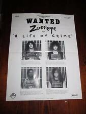 ZOETROPE A LIFE OF CRIME 22 X 17 PROMOTIONAL POSTER 1987 RELATIVITY RECORDS