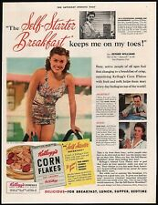Vintage magazine ad KELLOGGS CORN FLAKES from 1941 with Esther Williams Aquacade