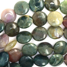 """16mm indian agate coin beads 15"""" strand"""