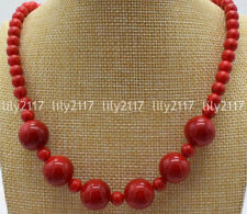 "Beautiful Natural 6mm 14mm Red Coral Round Beads Gemstone Necklace 18-28"" AAA"