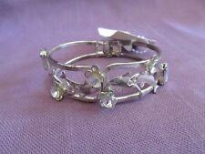 Hinged Silver Tone Dolphin Cuff Bracelet Bangle w/ Gems