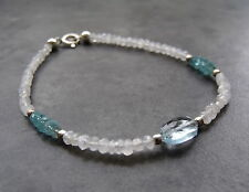 RAINBOW MOONSTONE AND BLUE TOPAZ SILVER STACKING BRACELET - FREE POSTAGE