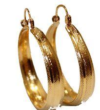Round 1 2/8 inch  Hoops 18K Gold Plated Hoops - Shinny Hoop Earrings 8mm Width