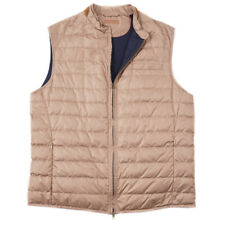 NWT $1195 LUCIANO BARBERA Lightweight Packable Quilted Down Vest M Suede Trim