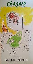 Marc Chagall Affiche quadri Exposition Zurich 1971 Vence Art Russe Visage