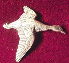 Lovely Pewter Flying Single Mallard Duck Pin Brooch