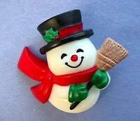 Hallmark PIN Christmas Vintage SNOWMAN in TOP HAT BROOM Small Holiday Brooch