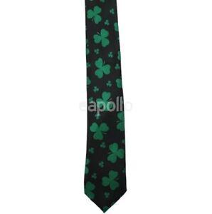 Unisex Novelty Fancy Dress Black and Green Leaf Clover Irish Large Tie New