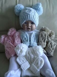 Baby Boy Girl Pom Pom Chunky Cable Knit Hat+Mitts Blue Pink White Beige Grey 0-6