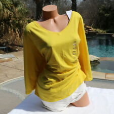 NWT Lane Bryant 26-28 4X Yellow Career Casual Stretch V Neck Tunic Top New!