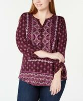 Style & Co Womens Ladies Purple Mixed Print Plus Size Henley Shirt Top 0X