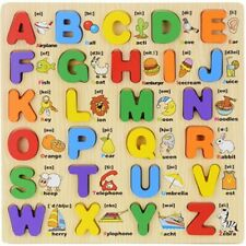Wooden Alphabet Number Toys Puzzle Board Toddler Educational Early Learning Toys
