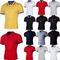 Mens Short Sleeve Polo Shirts Summer Tee Golf Sport Slim Tops Casual Fit T-Shirt