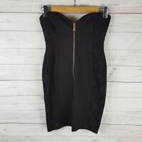Forever New Dress Size 8 Black Strapless Lace Detail Zip Front