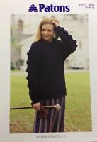"""Patons Ladies Cable Sweater Super Chenille KNITTING PATTERN 4984 - (30-40"""")"""