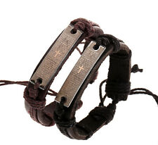 Wholesale 12pcs Handmade Leather Cross Lection Accessories Bracelet for Gift B