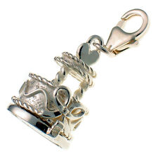 Sterling 925 British Silver Clip Charm Opening Wedding Heart Cake, Bride & Groom