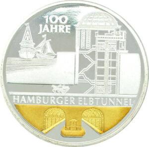 10 Euro BRD 100 Jahre Elbtunnel Hamburg 2011 PP Silber mit Goldapplikation