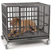 """Heavy Duty 37""""/48"""" Dog Crate Large Kennel Cage Metal Pet Playpen W/Wheels & Tray"""