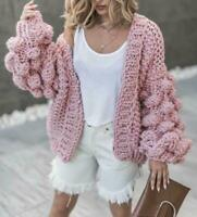 Womens Loose Sweater Outwear Cardigan Knitted Cardigan Jacket Coat Puff Sleeve