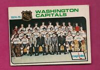 1975-76 OPC # 98 CAPITALS UNMARKED TEAM CHECKLIST VG CARD (INV#7185)