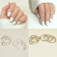Hot Fashion Women Gold Silver Above Knuckle Finger Ring Band Midi Rings 5Pcs/Set