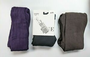 Hue - Bundle of 3 Women's Sweater Tights - Black, Purple, Brown - Size S/M NEW