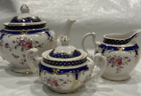 Grace Teaware Teapot, Sugar Bowl & Creamer Set &Royal Blue, Roses , Gold- New