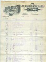 GRAPHIC 1891 MCINTOSH-HUNTINGTON HARDWARE BILLHEAD, CLEVELAND OHIO