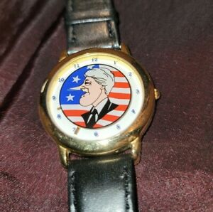 Bill Clinton Growing Nose Watch. Needs Battery. Analog Quartz. Leather strap.