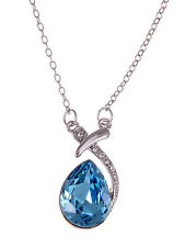 Blue Zircon Tone Crystal Elements Egg Abstraction Beauty Nite Necklace ALA