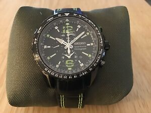 MEN'S SEIKO SNAE97 NOT-WORKING SAMPLE SPORTURA ALARM CHRONOGRAPH WATCH 7T62 0LA0