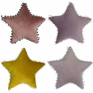 Little Furn Star Shaped Pom Pom Fringe Faux Velvet Filled Cushion